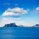 Opinião de Ifach Penon de calpe em Alicante Fotografia de Stock Royalty Free