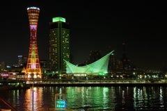 Opinião de Kobe Harborland Night imagens de stock