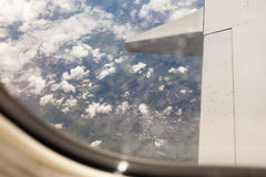 Opinião de Liverpool da janela do avião Fotos de Stock Royalty Free