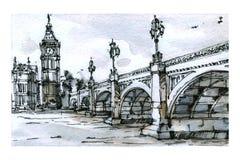 Opinião de Londres Técnica da aquarela Fotos de Stock