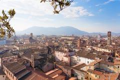 Opinião de Lucca da torre de Guinigi Foto de Stock