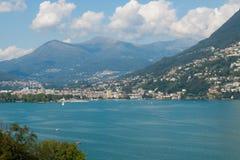 Opinião de Lugano do lago Fotos de Stock Royalty Free
