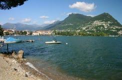 Opinião de Lugano - Switzerland fotos de stock royalty free