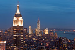 Opinião de Manhattan no crepúsculo, New York, EUA Fotografia de Stock Royalty Free