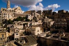 Opinião de Matera por Sassi fotografia de stock royalty free