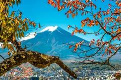 Opinião de Monte Fuji do pagode vermelho Imagens de Stock Royalty Free