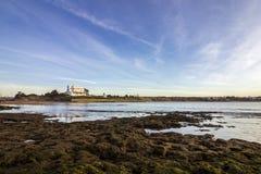 Opinião de Oceano Atlântico do por do sol na praia de Tamarist, em Casablanca Imagem de Stock Royalty Free