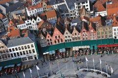 Opinião de olho de pássaros de Bruges - de Grote Markt Fotos de Stock