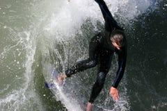 Opinião de olho de pássaros do surfista Fotos de Stock Royalty Free