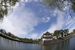 Opinião de olho de peixes do palácio imperial, Tóquio, Japão Imagem de Stock