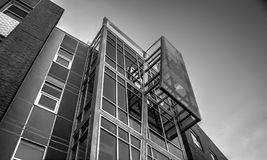 Opinião de perspectiva arquitetónica preto e branco fotografia de stock
