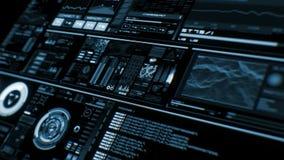 Opinião de perspectiva da relação futurista azul profunda/Digitas screen/HUD video estoque