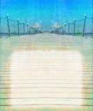 Opinião de perspectiva do cais de madeira - quadro do vintage Fotografia de Stock