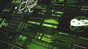 Opinião de perspectiva profundamente - da relação futurista verde/Digitas screen/HUD video estoque