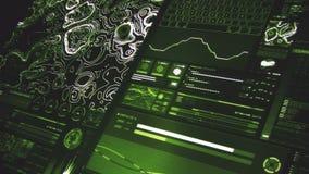 Opinião de perspectiva profundamente - da relação futurista verde/Digitas screen/HUD ilustração do vetor