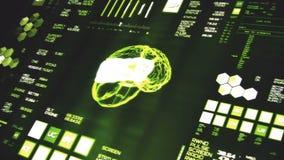 Opinião de perspectiva profundamente - da relação futurista verde/Digitas screen/HUD filme