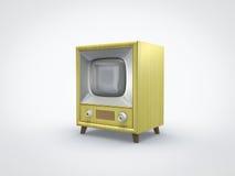 Opinião de perspectiva velha da tevê do amarelo Imagens de Stock