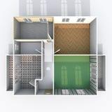 opinião de plano interior da rendição 3d do apartamento home vazio Foto de Stock