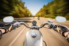 Opinião de primeira pessoa do motociclista Imagens de Stock