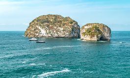 Opinião de Puerto Vallarta, México o nacional Marine Park do Los Arcos Fotografia de Stock Royalty Free