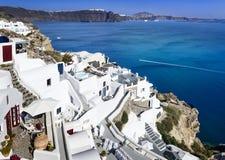 Opinião de Santorini no dia Fotografia de Stock Royalty Free