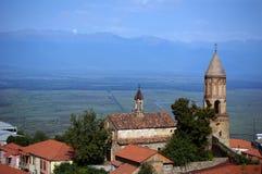 Opinião de Signagi ao vale de Alazani Fotografia de Stock Royalty Free