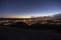 Opinião de Simi Valley California Dusk Hilltop foto de stock royalty free