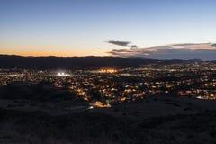 Opinião de Simi Valley California Evening Hilltop imagens de stock