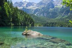 Opinião de Springl do lago Tovel, Itália Imagens de Stock Royalty Free