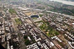 Opinião de um helicóptero, New York de Manhattan, EUA Fotos de Stock Royalty Free