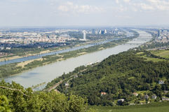 Opinião de Viena Danúbio Fotografia de Stock