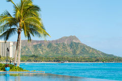 Opinião Diamond Head, Waikiki, Imagens de Stock