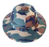 Opinião dianteira branca isolada de capacete de Pith camuflar Fotos de Stock Royalty Free