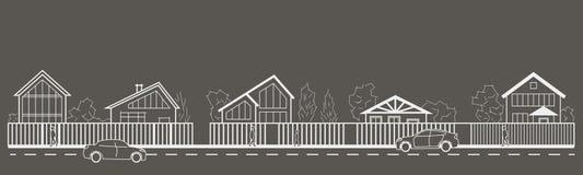 Opinião dianteira da rua arquitetónica linear da vila do esboço no fundo cinzento Imagem de Stock Royalty Free
