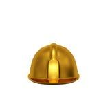 Opinião dianteira de construção dourada do capacete Imagens de Stock