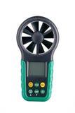 Opinião dianteira do anemômetro handheld de Digitas isolada no branco foto de stock