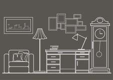 Opinião dianteira do armário arquitetónico do esboço no fundo cinzento Imagem de Stock Royalty Free