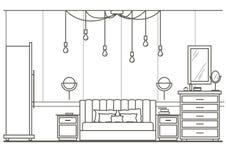 Opinião dianteira do quarto moderno interior arquitetónico do esboço Foto de Stock
