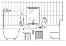 Opinião dianteira interior do banheiro arquitetónico do esboço Imagens de Stock Royalty Free