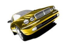 Opinião dianteira isolada do carro do ouro ilustração royalty free