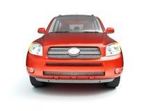 Opinião dianteira lustrosa vermelha nova de SUV Foto de Stock Royalty Free