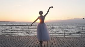 A opinião dianteira o dançarino bonito caucasiano da menina executa os elementos do balé clássico que estão na parte dianteira o  vídeos de arquivo