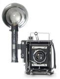 Opinião dianteira retro de câmera instantânea fotografia de stock royalty free