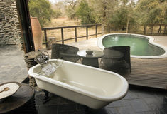 Opinião do banheiro que negligencia uma associação e uma plataforma de madeira Fotos de Stock Royalty Free