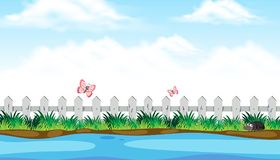 Opinião do beira-rio com inseto bonito ilustração do vetor