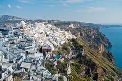 Opinião do Caldera de Imerovigli a Fira na ilha de Santorini Imagem de Stock Royalty Free