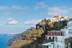 Opinião do Caldera de Thira a Imerovigli na ilha de Santorini fotos de stock