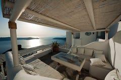 Opinião do Caldera do balcão de Imerovigli em Santorini, Grécia Fotografia de Stock