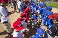 Opinião do carvalho, Califórnia, EUA, o 7 de março de 2015, campo da liga júnior do vale de Ojai, basebol da juventude, divisão d Imagens de Stock Royalty Free
