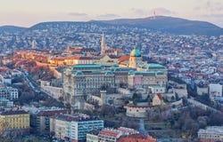 Opinião do castelo de Buda do monte de Gellert, Budapest Imagens de Stock Royalty Free